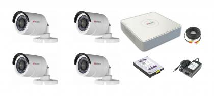 Комплект видеонаблюдения БАЗОВЫЙ HD4 4 камеры 1МП + 4-канальный регистратор