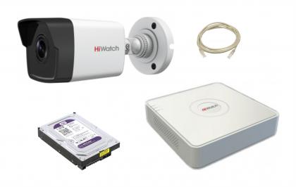Комплект видеонаблюдения ОПТИМАЛЬНЫЙ IP1 1 камера 2МП + 4-канальный регистратор POE